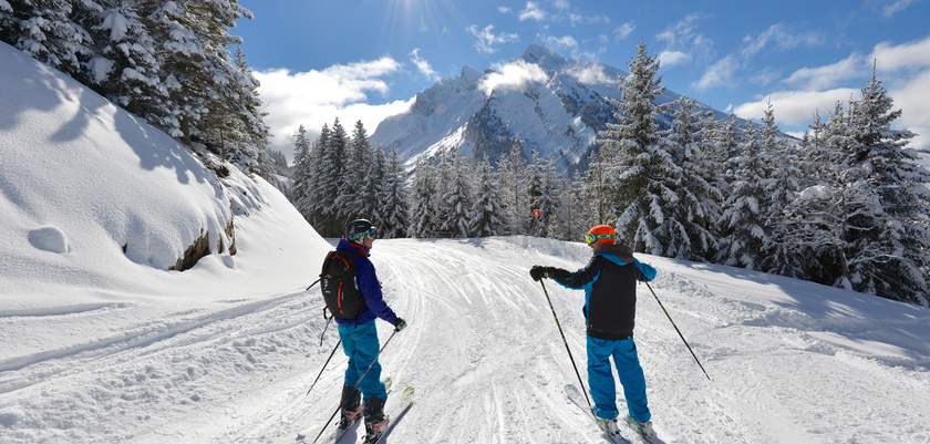 Skiers enjoying a tree lined run